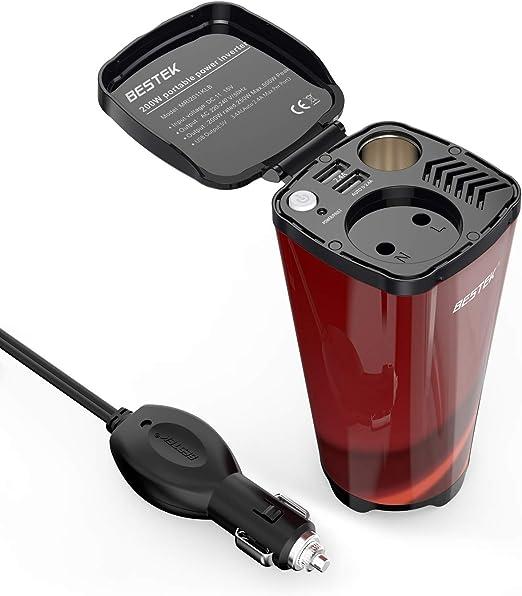 Bestek Auto Wechselrichter 200w Tasseförmiger Kfz Spannungswandler Dc 12v Auf Ac 230v Power Inverter Mit 2 Usb Anschlüsse Zigarettenanzünder Adapter Auto