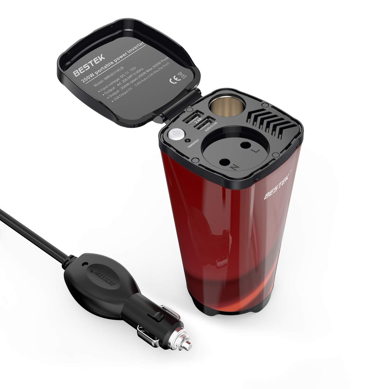 BESTEK Inversor De Corriente 200W 12V A 220V para Coche Cargador De Energía con 2 USB Puertos De 4.8AY 1 Toma De Encendedor Mechero De Coche y 1 AC ...