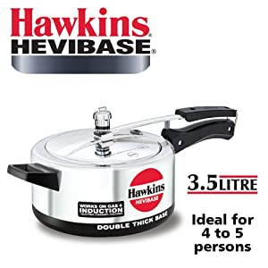 Hawkins Hevibase IH35 3.5-Litre Induction Pressure Cooker, Small, Silver