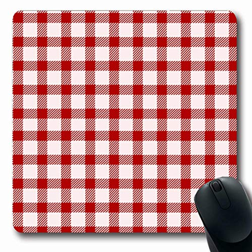 Ahawoso Mousepad Oblong 7.9x9.8 Inches Dinner Gingham Red White Picnic Country Pattern Table Food Plaid Breakfast Office Computer Laptop Notebook Mouse Pad,Non-Slip Rubber
