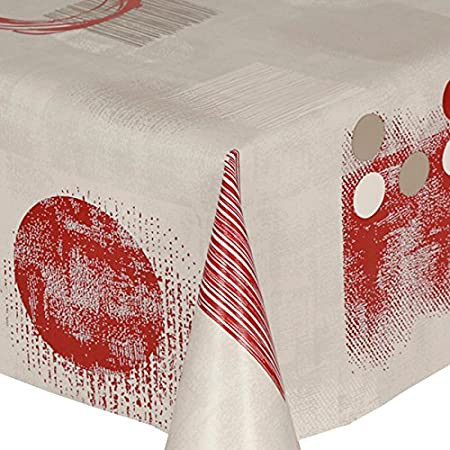 Bon PVC Tablecloth Red Shapes 48u0026quot; Round (122cm) Approx., Modern Shapes  Speckle