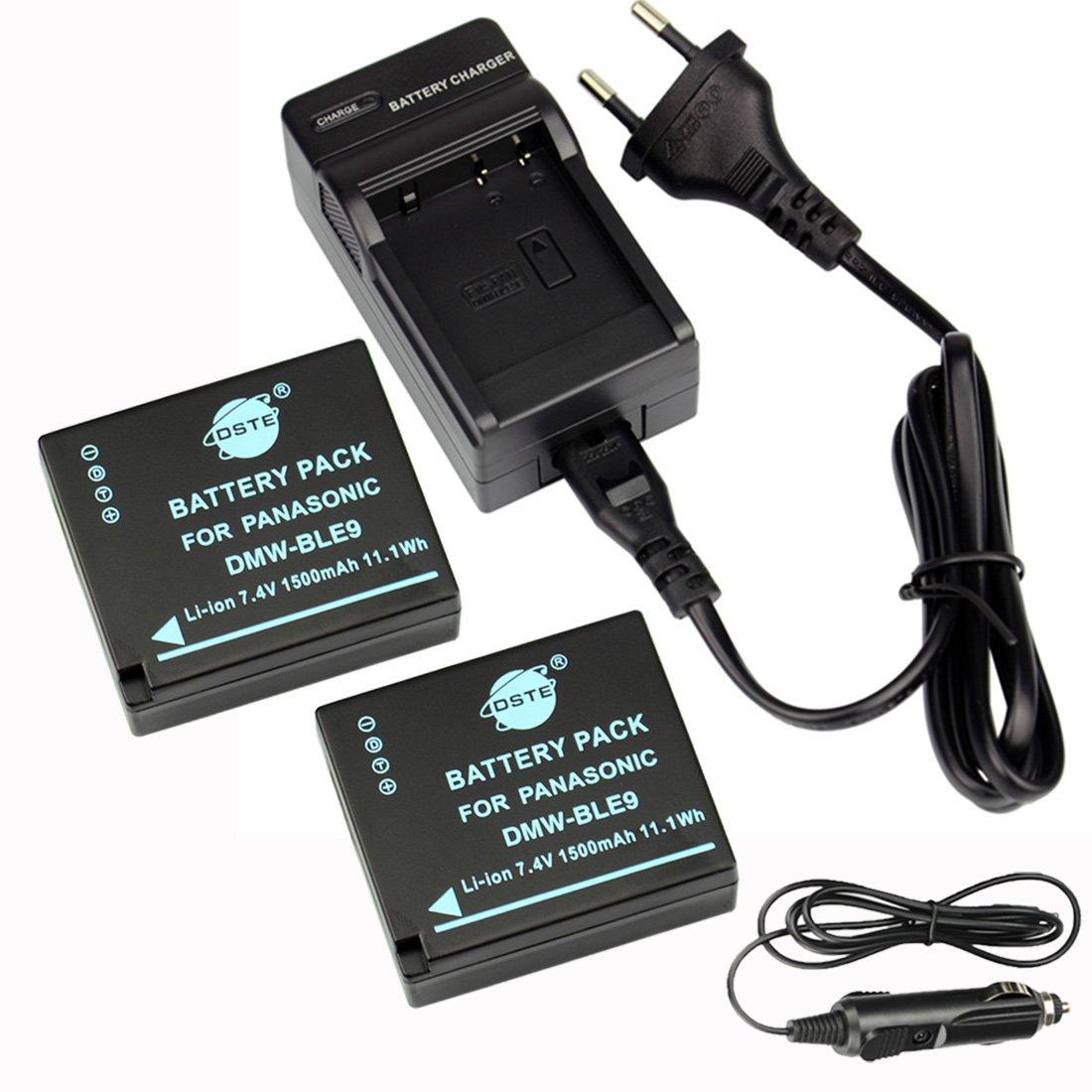 DSTE 2-Pieza Repuesto Bater/ía y DC120E Viaje Cargador kit para Pancomoonic DMW-BLE9 Lumix DMC-GF3 DMC-GF3GK DMC-GF5 DMC-GF6 DMC-GX7 DMC-LX100 como DMW-BLE9E DMW-BLE9PP DMW-BLG10
