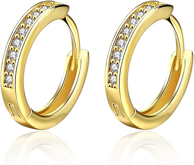 14K Gold 4mm Thickness CZ Stone  Huggies Hinged Earrings Details about  /Ioka