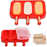 TOTEDELL Flat Silicone Popsicle Molds for Kids BPA-Free, DIY Ice Pop Molds with Lids Packs of 2, 3 Cavities Ice Cream Popsicl