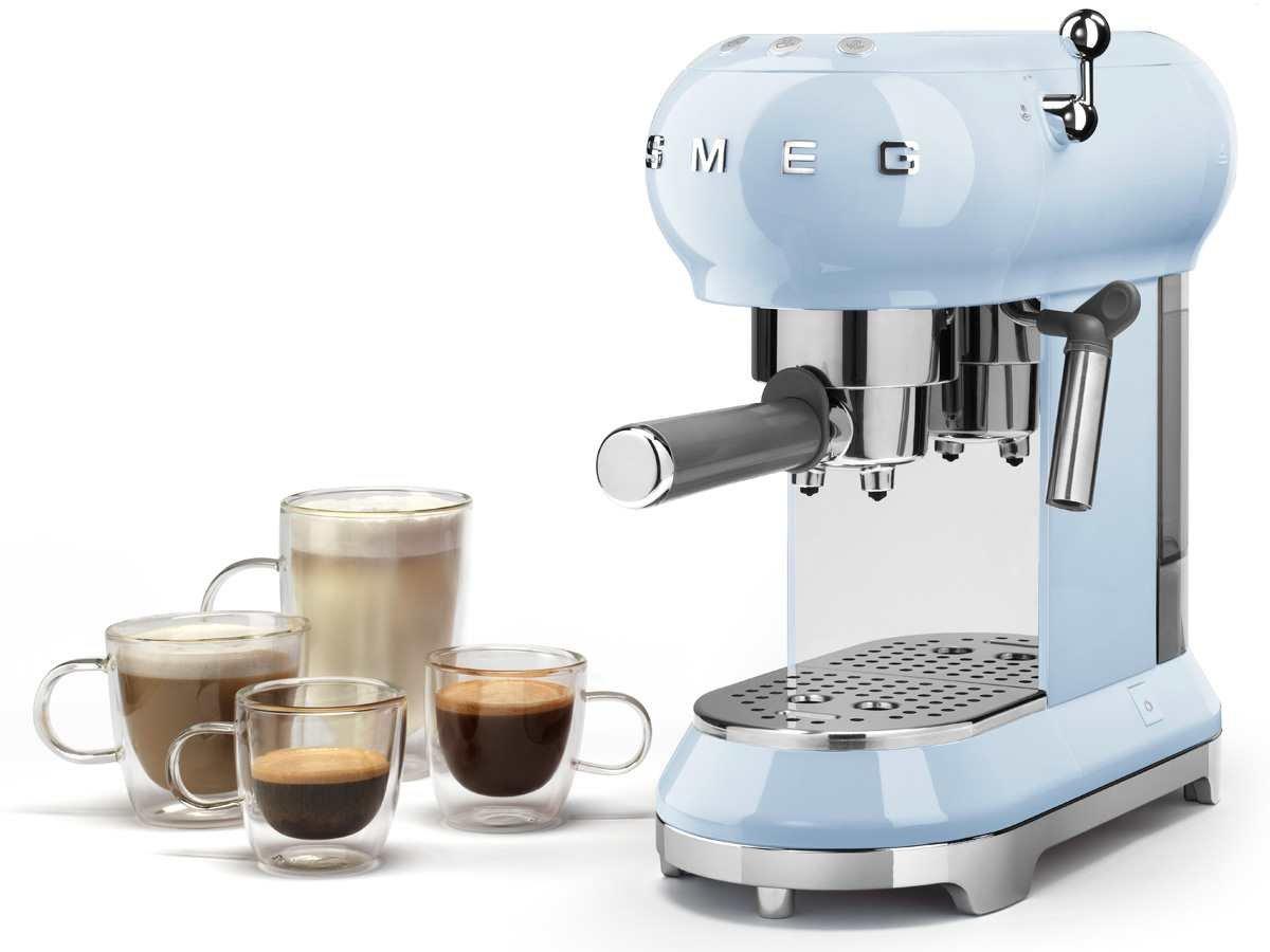 ECF01 - Máquina de café con portafiltro azul pastel/14,9 x 33 x ...