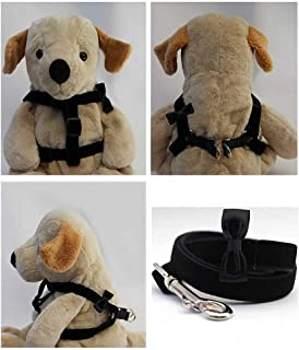"product image for Diva-Dog 'Black Bow Tie' Custom 5/8"" Wide Velvet Dog Step-in Harness with Plain or Engraved Buckle, Matching Leash Available - Teacup, XS/S"