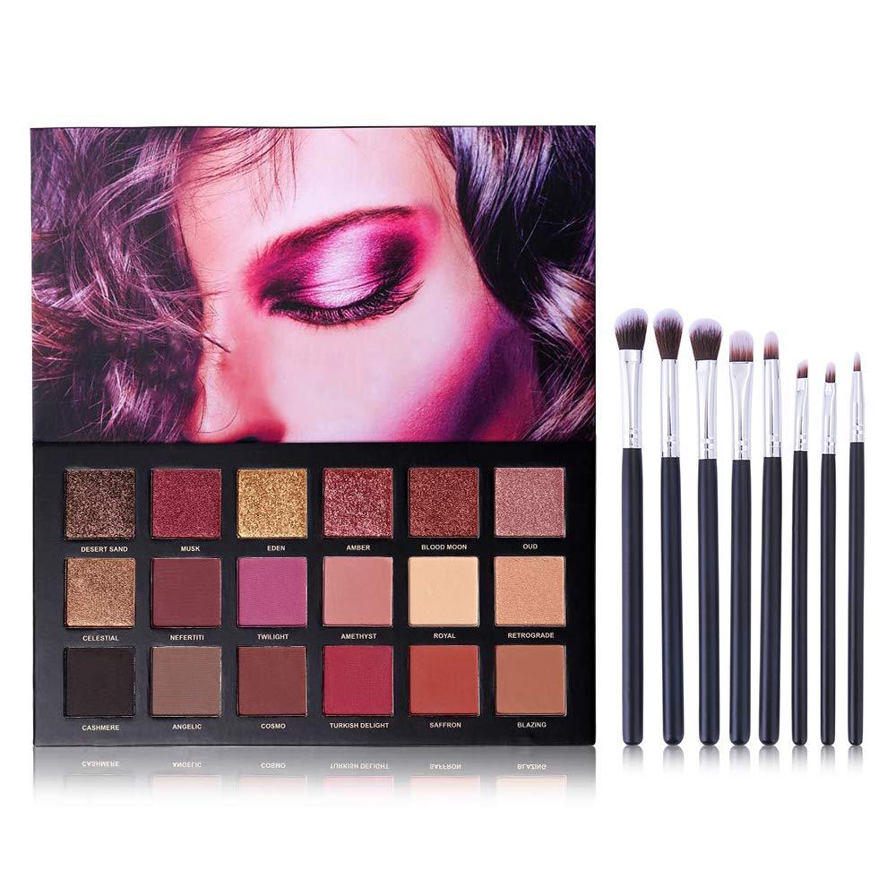UCANBE 18 Color Eyeshadow Palette + 8pcs Multifunction Makeup Brushes Set Kit, Highly Pigmented Matte Shimmer Blending Eye Shadow Powder Pallet