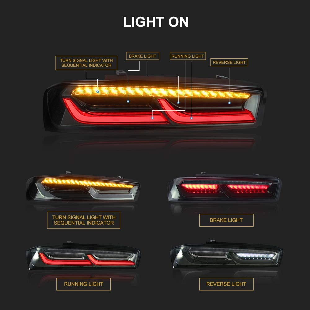 YUANZHENG LED Tail Lights for Chevy Camaro 2016 2017 2018 Tail Light Assembly Full LED Taillights Reverse with Sequential Turn Signals and DRL Bars