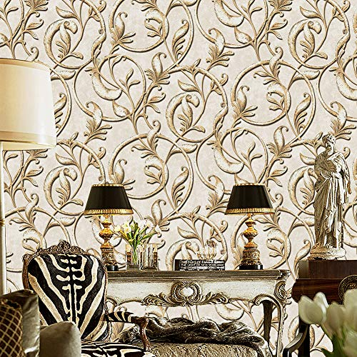 A162 Luxury Damask Wallpaper Rolls Gold/Beige Embossed Texture Victorian Wall Paper Home Bedroom Living Room Hotels Wall Decoration 20.8