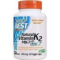 Doctor's Best Natural Vitamin K2 MK-7 with MenaQ7, Non-GMO, Vegan, Gluten Free, Soy Free, 100 mcg, 60 Veggie Caps