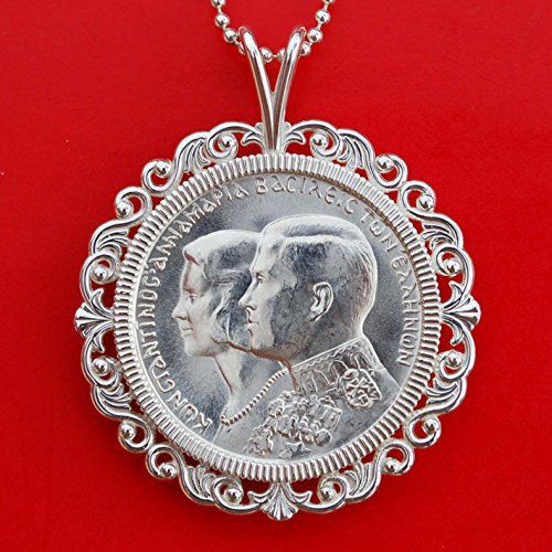 New Silver King Sterling - Greece 1964 30 Drachma 83.5% Silver BU Unc Coin Royal Wedding King Soild 925 Sterling Silver Necklace w. 24