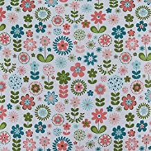 Homescapes Pure Cotton Furnishing Fabric - Retro Flower - 150 cm Wide - Thick Yarn Dyed Woven - for Upholstery Curtain Cushion Soft Furnishings Heavy Dress Material - Per Metre by Homescapes