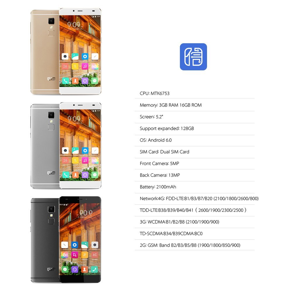 Elephone S3 - Smartphone 4G LTE Android 6.0 (Octa Core, MTK6753 64bits, 5.2