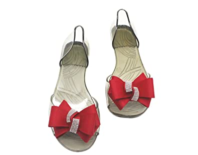 1dc2dfc2103 Girls Bow Bright Diamond Sandals Crystal Shoes Jelly Shoes Women Transparent  Fashion Spring and Summer Shoes