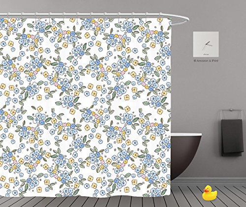 Shower Curtains 2.0 by iPrint,Pe3390_Cute Little Watercolor Flowers Seamless Pattern,Bathroom Accessories,Waterproof Bathroom Shower Curtain Set with Hooks,Updated version,Durable,Stylish,Decorative,