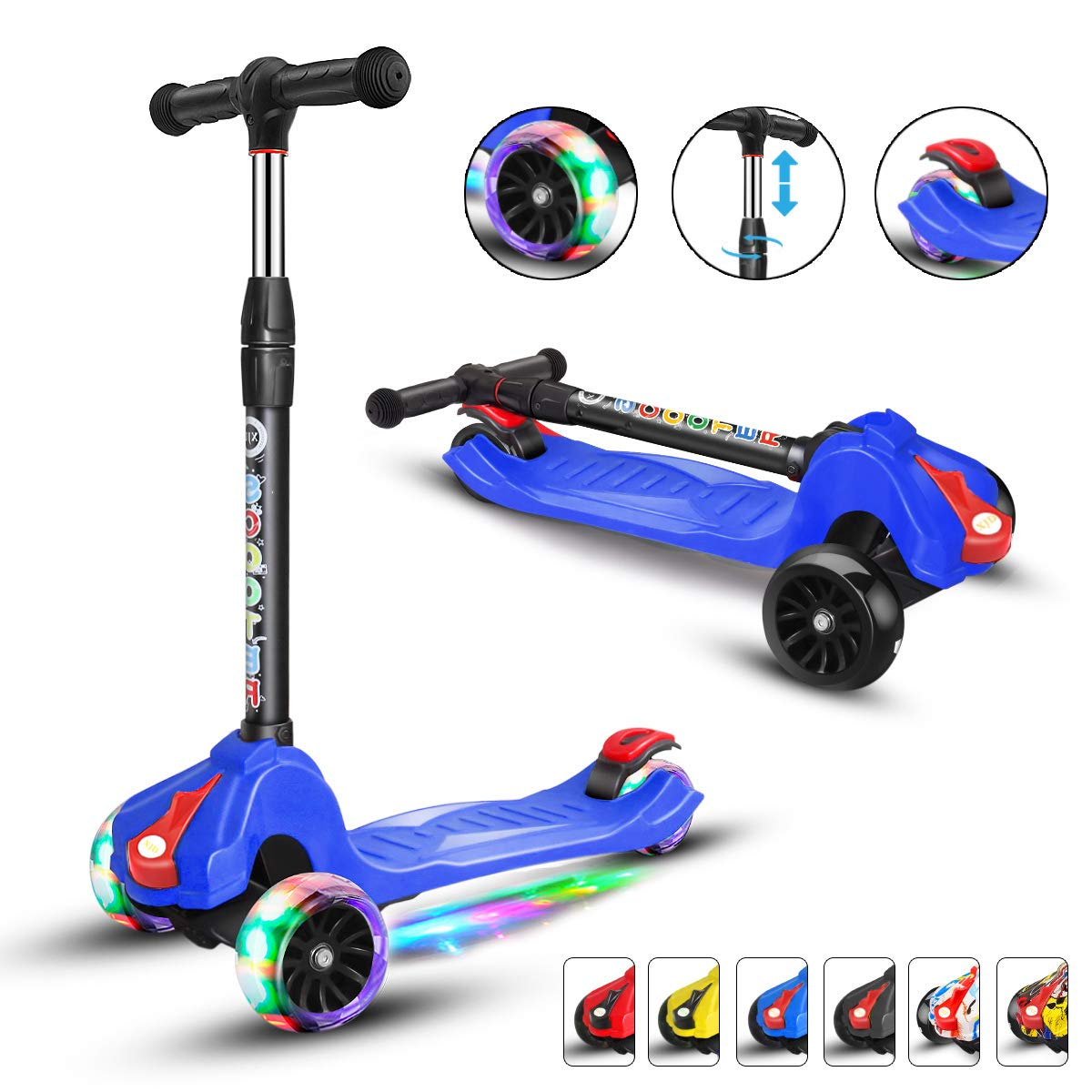 XJD Kick Scooters for Kids Toddler Scooters Adjustable Height Extra-Wide 3 Wheels Boys Girls 100% Assembled Light Up Wheels Children from 2 to 14 Year-Old(Blue)
