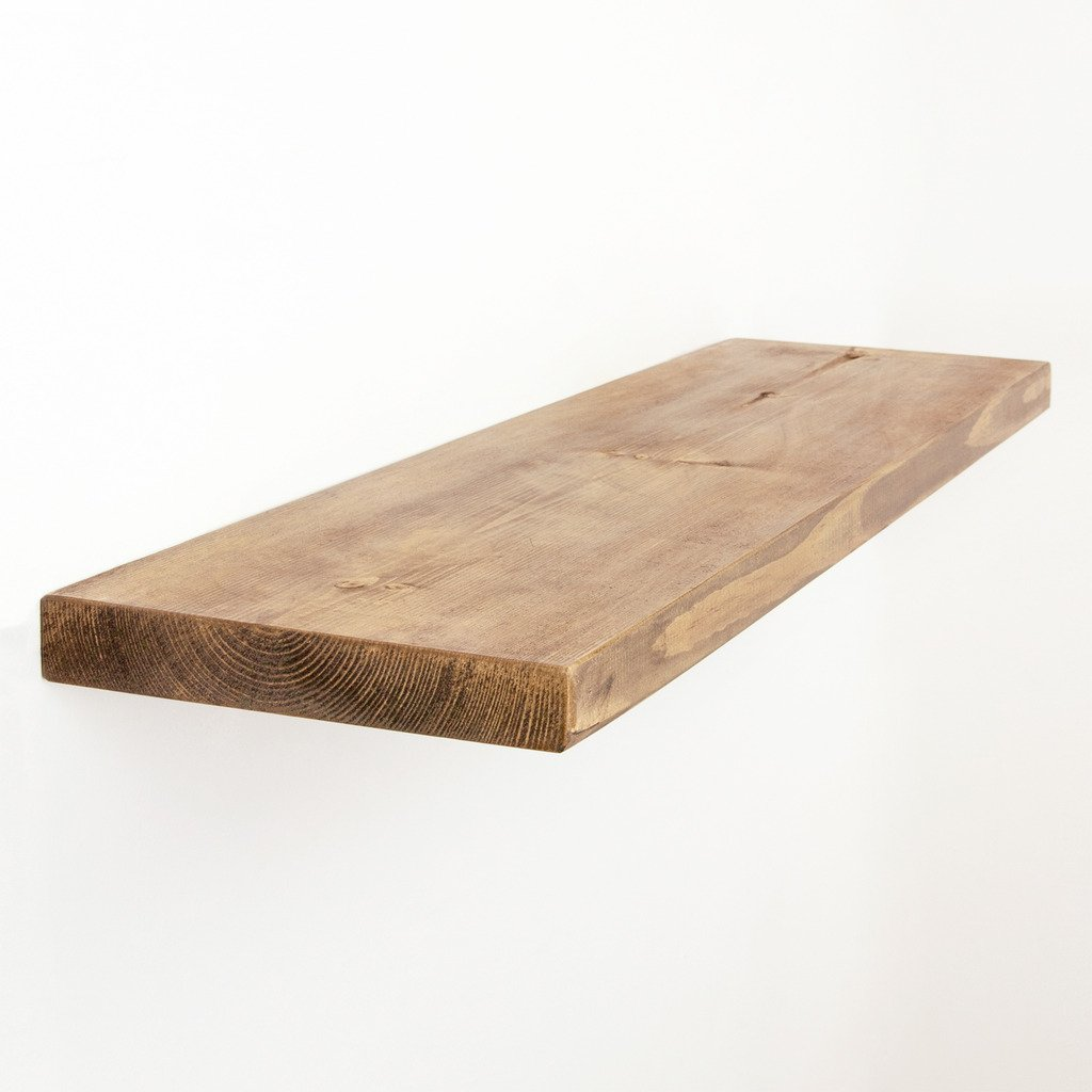 Funky Chunky Furniture 9x1.5 Smooth Solid Wood Floating Shelf , Walnut , 30cm
