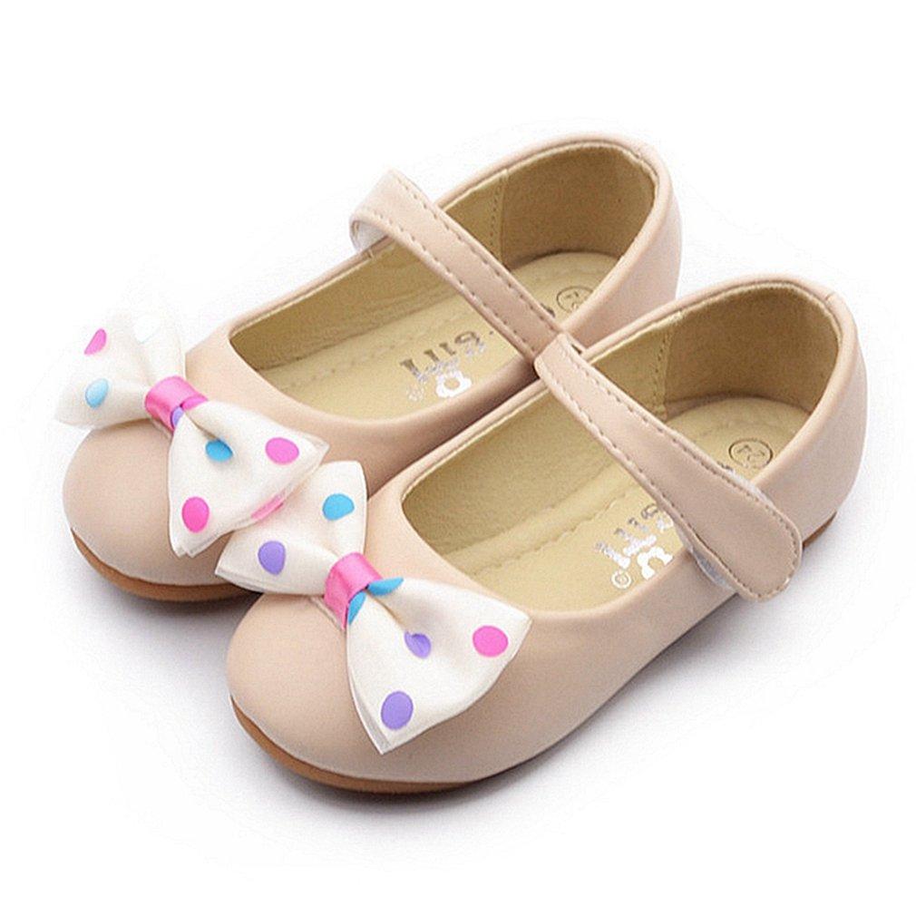 CYBLING Kids Girls Bowknot Ballerina Flats Soft PU Leather Cute Dressy Mary Jane Shoes (Toddler/Little Girls)