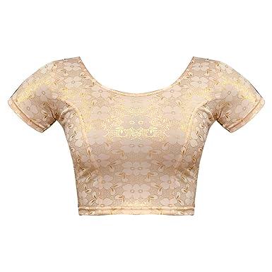 07d3732a74e880 Bindigasm s ADVI Women s Shimmer Lycra Blouse (2044-XL Light Gold X-Large)