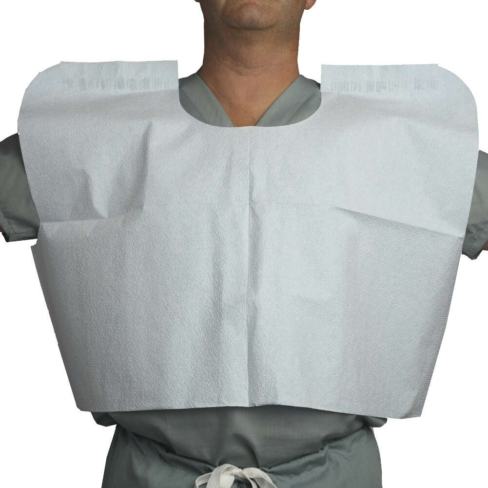 MediChoice Exam Capes, Disposable, Tissue/Poly/Tissue, 30 Inch x 21 Inch, White (Case of 100)