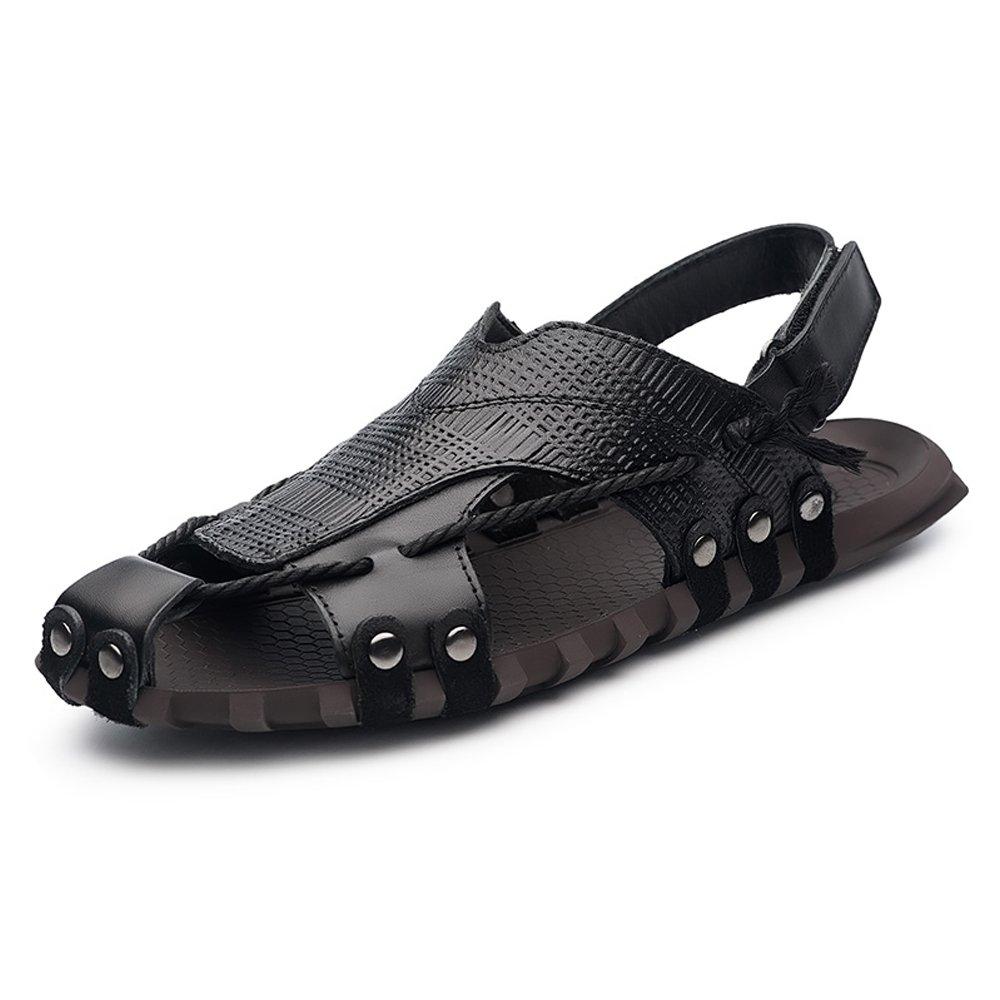 Zapatos para hombre Zapatillas de playa de cuero de vaca genuino clásico de los hombres zapatillas de cáñamo casuales sandalias planas suaves antideslizantes del cáñamo 47 EU|Black