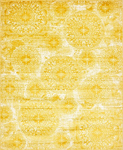 Modern Vintage Inspired Overdyed Area Rugs Yellow 8' x 10' FT Wembley Rug - modern & Traditional rugs for living room - rugs for dining room & bedroom - Floor Carpet (Area Gray Rugs Gold And)