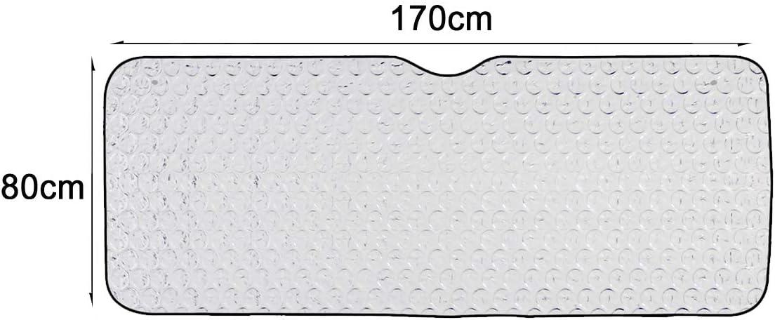 Protector Solar Universal con 2 ventosas//2 Correas, ALLPER Parasol Coche para Luna Delantera Regalo 2 PCS Parasol Ventana Material: L/ámina de Aluminio. TAMA/ÑO: 140 x 70 cm