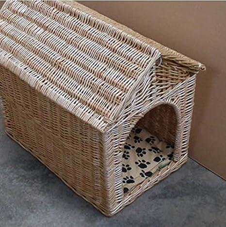 Nido perro Jaula para mascotas Caseta Perro Casa gatos tissés a la mano natural mimbre Gros perros Bichón casa caseta para mascotas, S: Amazon.es: Hogar