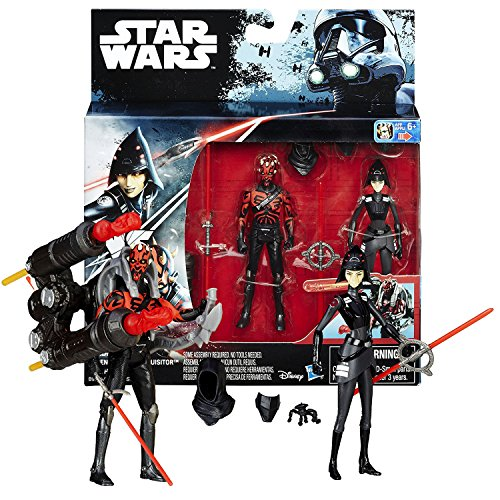 Star Wars The Inquisitor Double Light Saber (Hasbro Year 2016 Star Wars Rebels 2 Pack 4 Inch Tall Figure - SEVENTH SISTER INQUISITOR & DARTH MAUL with Double Lightsabers, Mask & Missile Launcher)