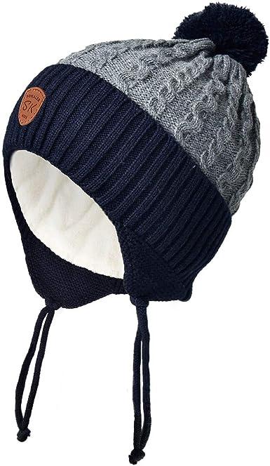 SOMALER Toddler Boys Girls Winter Hat with Ear Flap Kids Fleece Lined Knit Fur Pom Hat