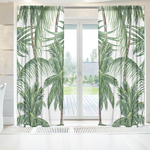 INGBAGS Elegant Voile Window Long Sheer Curtain 2 Panels Palm Trees Tropical Leaves Print Tulle Polyester for Door Window Room Decoration 55x84 Inch ,Set of 2
