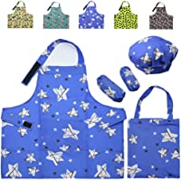 FANCYWING Kids Apron and Chef Hat, Waterproof Apron Set for Toddler Girls Boys, with Pocket Storage Bag for Cooking…