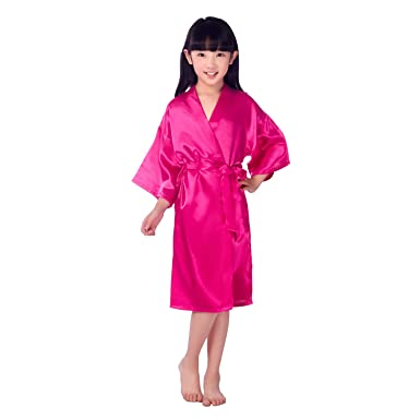 Honeystore Girls  Satin Flower Girl Kimono Robe Junior Bridesmaid Child  Bathrobe Fuchsia 6 bbc814f01