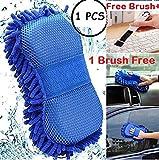 ORPIO (LABEL) 2 in 1 Microfiber Car Washing Gloves Car Cleaning Sponge Car Window Cleaning Brush (1PCS)