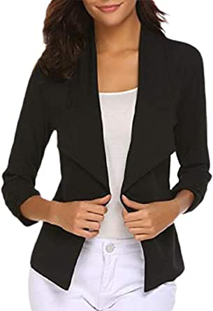 Women Casual 3/4 Ruched Sleeve Open Front Cardigan Jacket Work Office Blazer