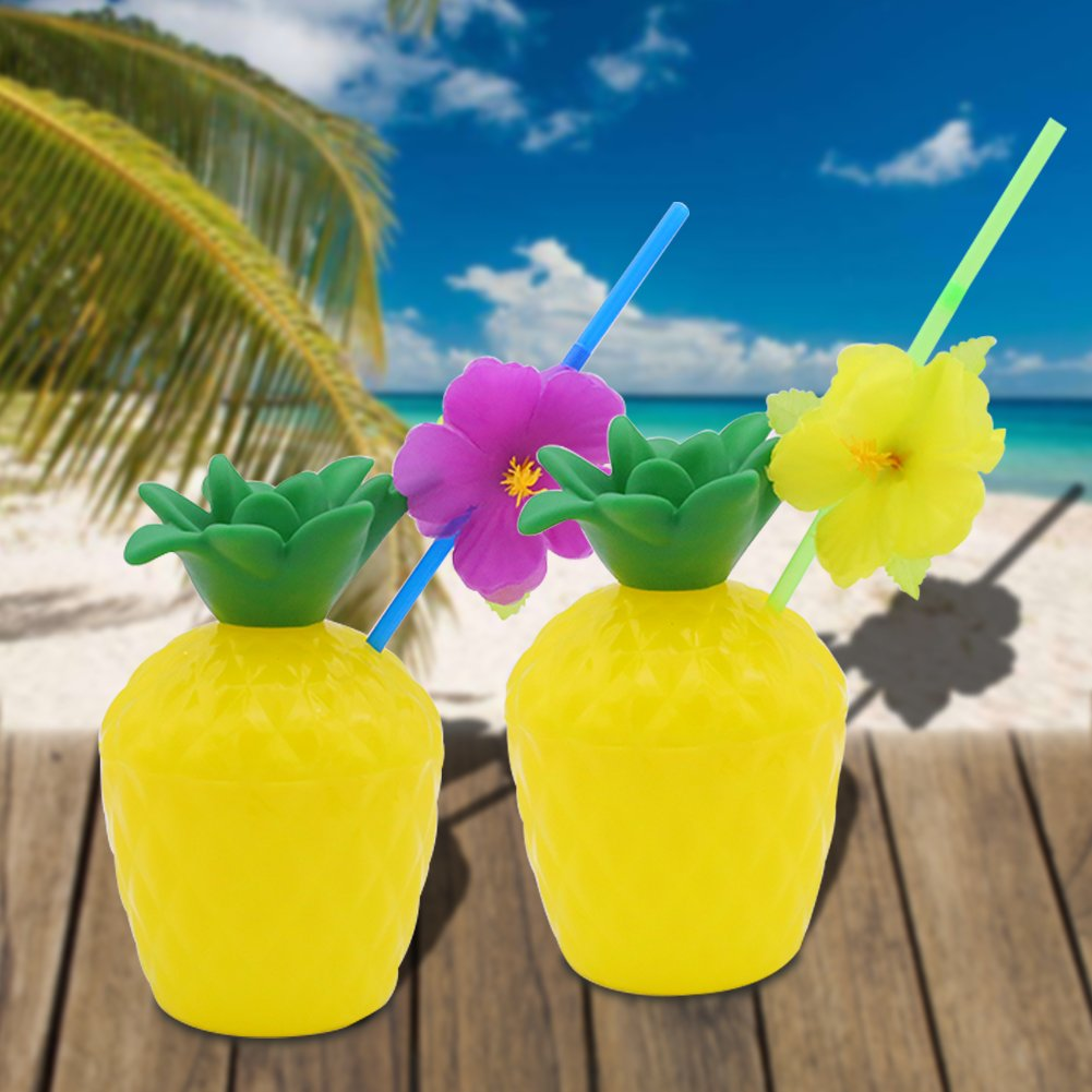 FuturePlusX Tropical Pineapple Coconut Drink Cups, 3PCS Plastic Hawaii Party Cups with Straws for Hawaiian Luau Party Children Summer Beach Party