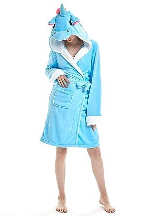 Image Unavailable. Image not available for. Color  JYUAN Adult Women Men Unicorn  Hooded Bathrobe Soft Warm Plush Flannel Fleece Bath Robe Sleepwear ... cf8ca5d96