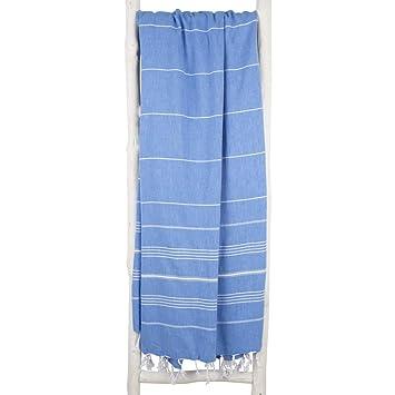 ZusenZomer Fouta Toalla Hammam XXL 160x215 Azul - Toalla Playa Turco Grande y Ligero - 100% Algadón Hecho a Mano - Comercio Justo Toallas Hammam (Azul ...