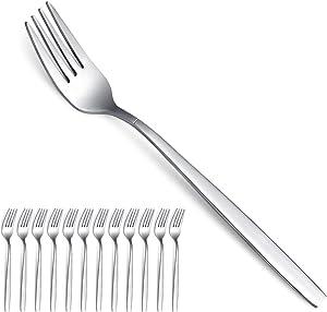 Berglander Dinner Forks of 12, Stainless Steel Modern Fork Set, Forks And Spoons Silverware, Spoons And Forks Set