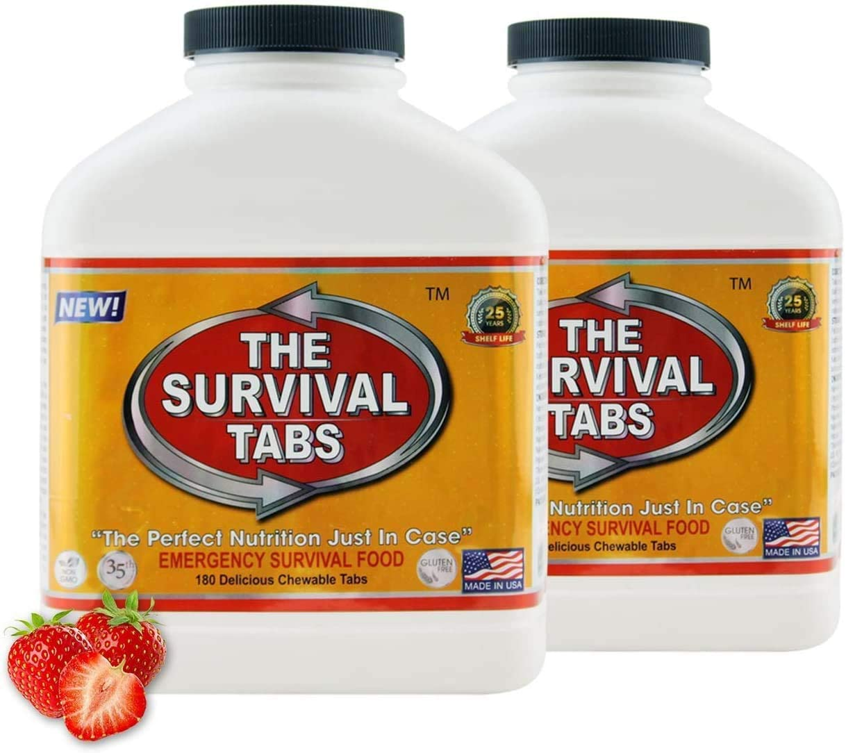 Survival Tabs 30-day Food Supply Emergency Food Ration 360 tabs Survival MREs for Disaster Preparedness for Earthquake Flood Tsunami Gluten Free and Non-GMO 25 Years Shelf Life - Strawberry Flavor