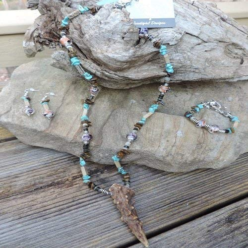 (Handmade Jewelry Set - Deer Antler Pendant & Turquoise Nugget Necklace, Bracelet & Earrings)