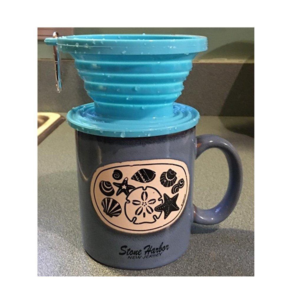 Wolecok--Cono plegable de filtro de café, de, grado alimenticio, perfecto para usar al aire libre y en viajes, incluye gancho, plástico, azul, talla única: ...