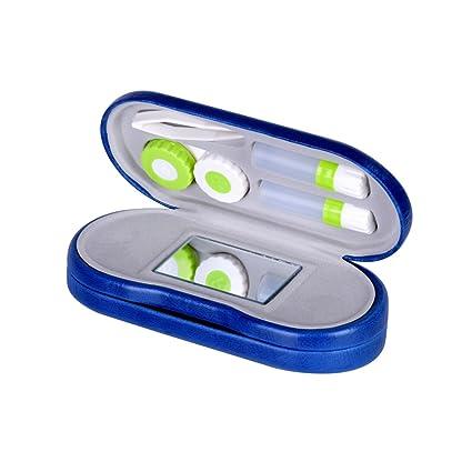 Estuche para Gafas y Lentillas con Espejo Incorporado ROSENICE 2 en 1 Funda Gafas Caja de Lentes de Contacto Kit de Viaje (Azul Real)