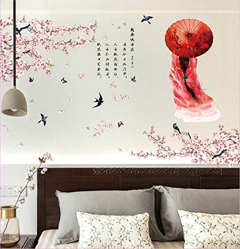 Homefind Chinese Style Ink Paintings Peach Blossom Beautiful Girl Scenery with Poem Quotes Wall Decorative Mural Decal Art Vinyl Wall Sticker Wallpaper for Living Room Bedrooms