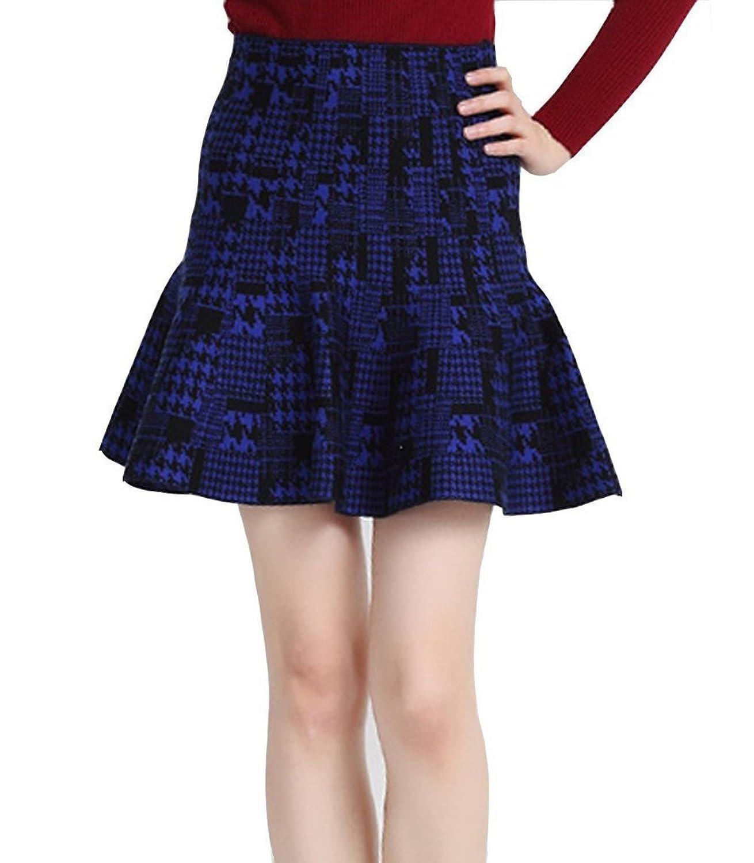 Minetome Herbst Frühjahr Retro Sexy Mädchen Damen hohe Taille elastische kurz Strickrock Minirock Skirt A-Linie Minirock Faltenröcke