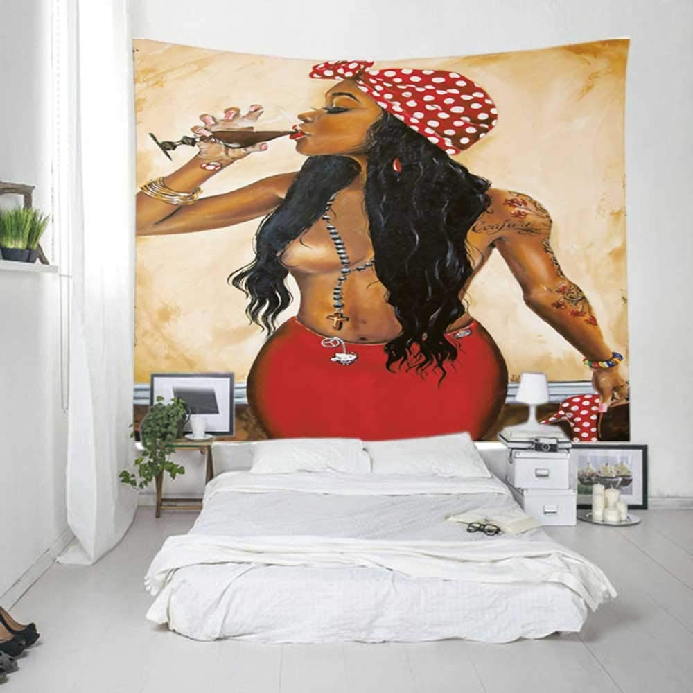Unitendo African American Black Girl Colourful Print Wall Hanging Tapestries Indian Polyester Picnic Bedsheet Afro Wall Art Decor Hippie Tapestry, 60''X 80'' Sexy Laday.
