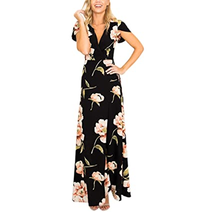 Dxlta Vestido largo para mujer - Vestido largo estampado floral informal de verano con cuello en