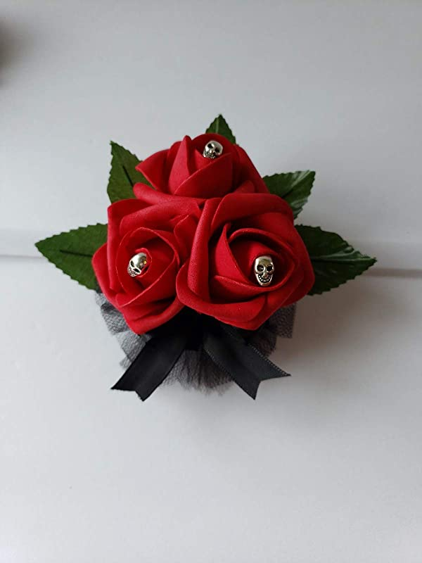 Goth Boutonnieres,26 Colors Available,Corsages Available In Pin On And Wrist Matching Bouquets Available Gothic Skull Black Boutonniere