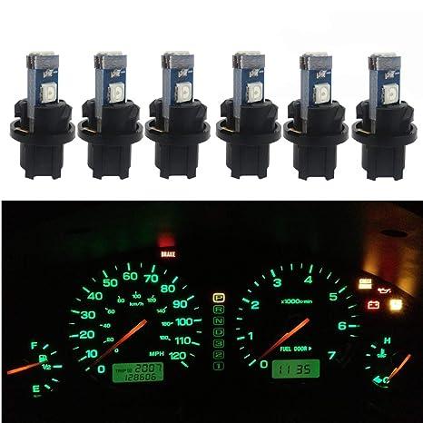 WLJH 6pcs T5 73 74 Instrument Cluster Dash Shifter Indicator 3 3030SMD 1 5W LED Light Bulb W Twist Lock Socket For Volkswagen Green