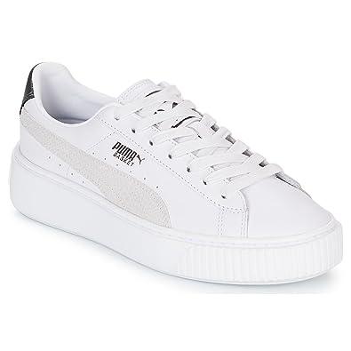 PUMA Basket Platform Euphoria Metal Damen Sneaker Puma White-Puma Aged  Silver 3.5